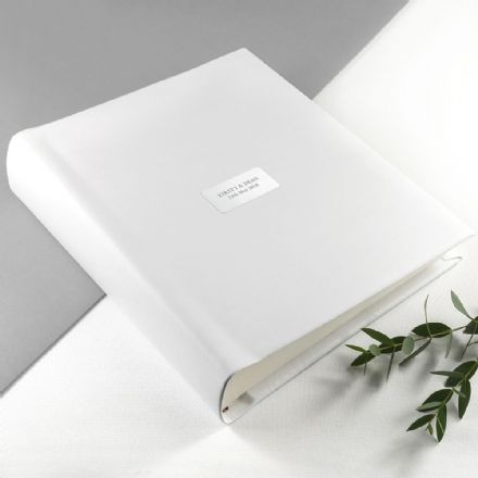 Personalised White Leather Photo Album - Medium